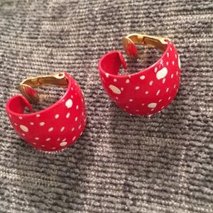 Rock the dots! Darling white dot red clip earrings